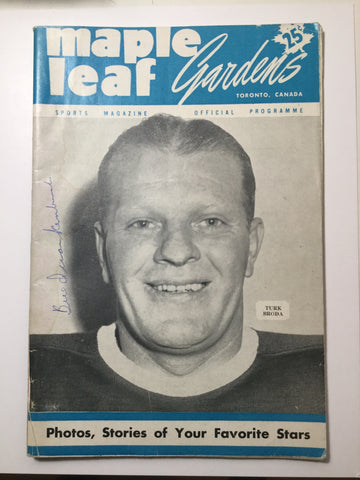 Toronto Maple Leafs Bill Quackenbush signed hockey game program with COA 1950s