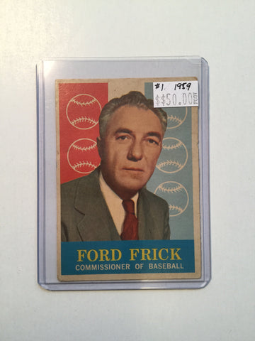 Ford Frick baseball commissioner #1 baseball card 1959