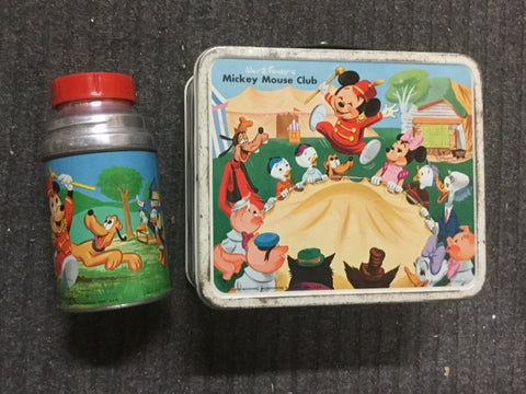 Mickey Mouse Club Rare Disney metal lunch box and metal Thermos 1960s