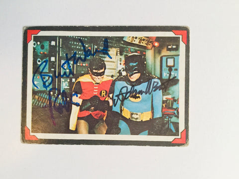 Batman Rare Original Card signed by Adam West/Burt Ward with COA