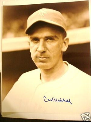 Carl Hubbell baseball legend signed 8x10 photo w/COA