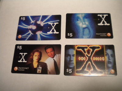 X-Files rare Australian 4 card phonecards set 1990