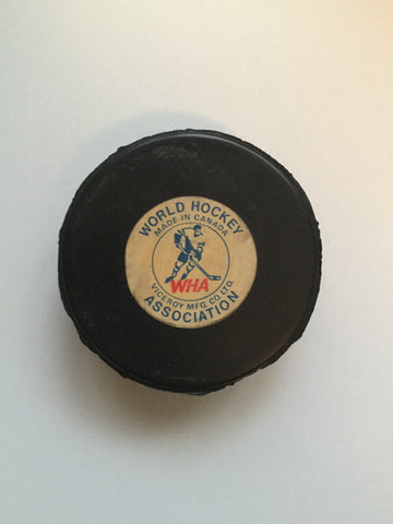 WHA Toronto Rare hockey puck with holder 1970s
