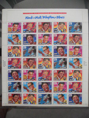 Rock and Roll vintage stars stamps sheet 1990s