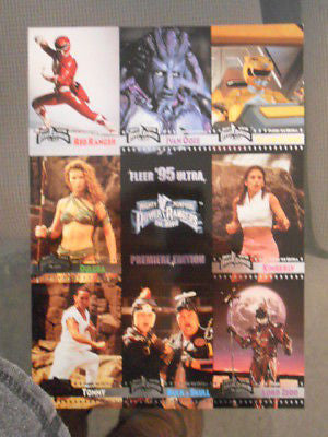 Power Rangers TV show 9 cards set uncut sheet 1994