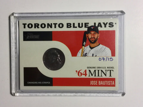 Blue Jays Jose Bautista numbered card with rare coin