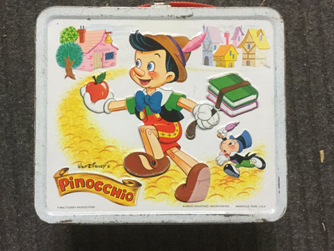 Pinocchio Disney rare metal lunch box 1970s