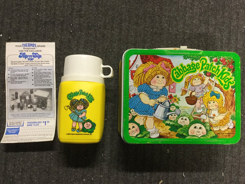 Garage Patch Kids Rare metal lunch box with Thermos and ad sheet 1980s