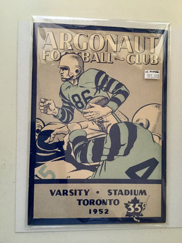 CFL football rare program Argos vs Montreal 1952