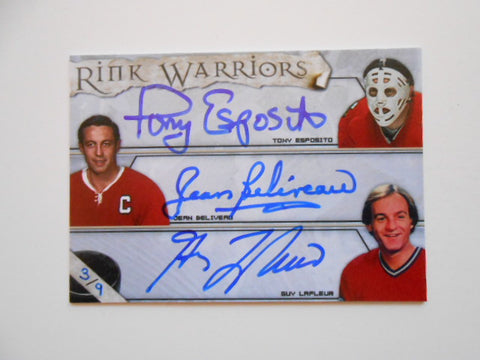 Beliveau/Esposito/LaFleur rare Triple signed hockey card