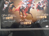 Horse Racing famous Jockeys signed matted photo w/COA