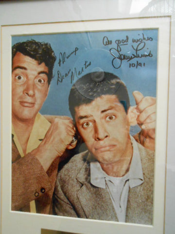 Dean Martin and Jerry Lewis rare signed photo framed with COA