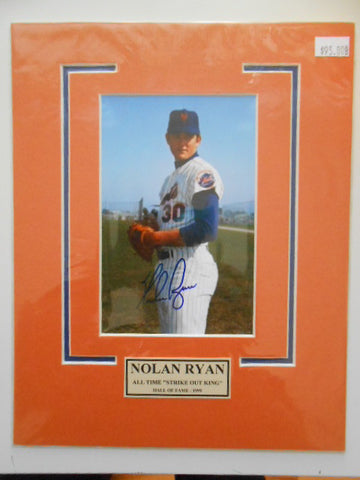 Nolan Ryan baseball legend signed matted photo w/COA