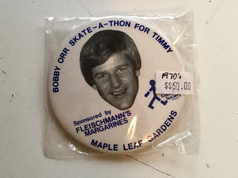 Bobby Orr hockey skate a thon Rare button 1970s