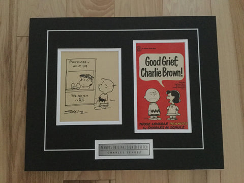 Peanuts cartoon TV show original sketch autograph by Charles Schulz with COA