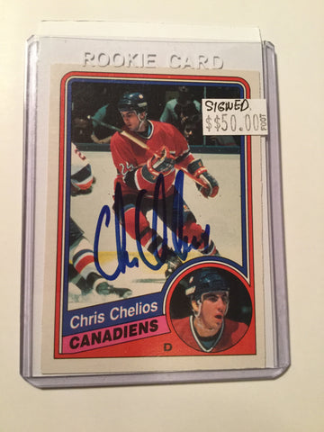 Chris Chelios opc Signed hockey rookie card w/COA