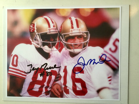 Joe Montana/Jerry Rice NFL football autograph photo w/COA