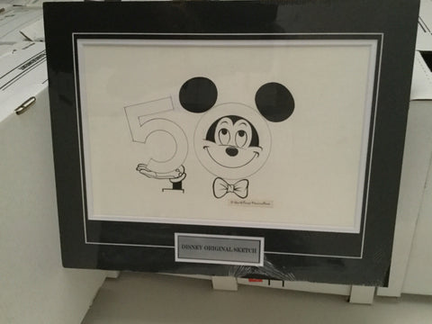 Disney Mickey Mouse rare 16x20 original matted sketch 1980s