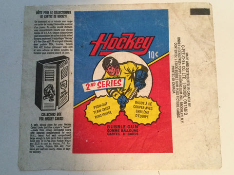 NHL hockey cards rare wrapper 1973/74