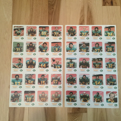 CFL Red Rooster rare Edmonton Eskimos uncut card sheets1983