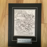 Disney original Mickey and Goofy matted sketch 1980s