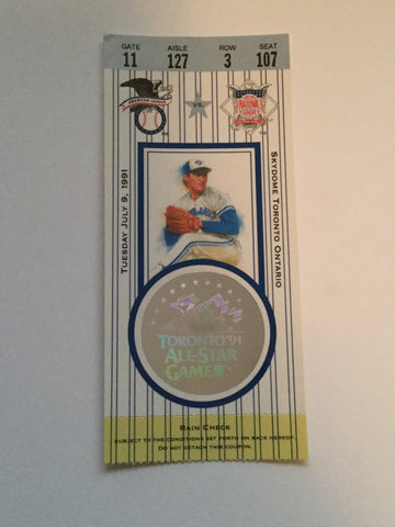 Blue Jays All Star baseball game ticket 1991