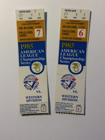 Blue Jays ALC champions game 6/7 tickets 1985