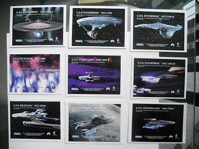 Star Trek ships rare Gold plaks insert card  uncut sheet set 1990s