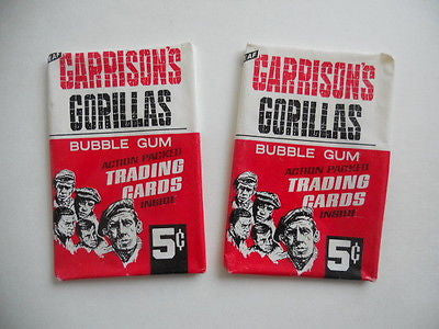 Garrisons Gorillas TV show Leaf cards 2 wrappers lot deal from 1967