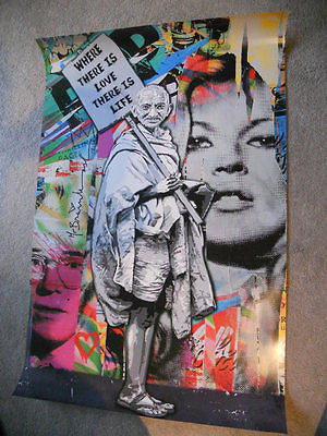"Mr. Brainwash (Banksy style) limited issued poster ""Where there is Love"" 2011"