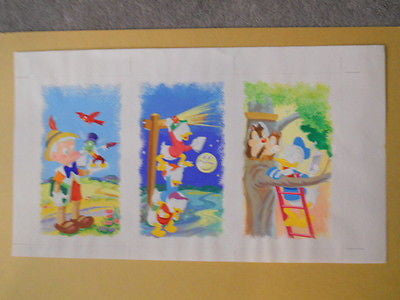 Disney rare original painted sketch art 10x17 1980s