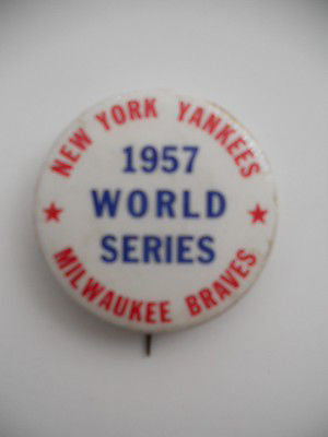 New York Yankees World Series rare baseball press pin 1957