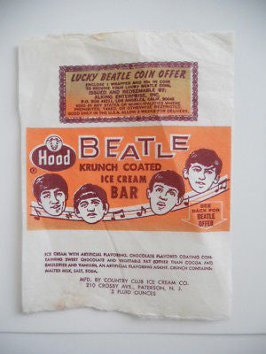 The Beatles rare ice cream original wrapper 1965