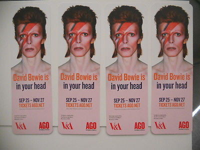 David Bowie 4 Rare  bookmarks from Toronto Art Gallery exhibit