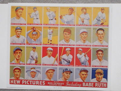 Babe Ruth Big League rare vintage uncut card sheet reprinted of 1930s cards
