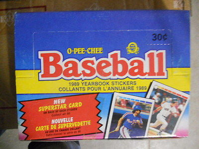 OPC Canadian baseball Yearbook stickers cards box 1989