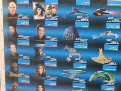 Star Trek Next Generation TV show uncut card sheet 1990