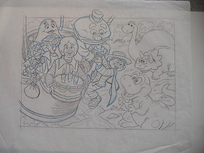 McDonalds rare vintage original sketch art 17x14 from 1980s