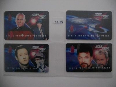 Star Trek Next Generation four cards phone card set 1990
