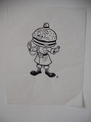 McDonalds Hambugular rare vintage original sketch art 9x12 from 1980s