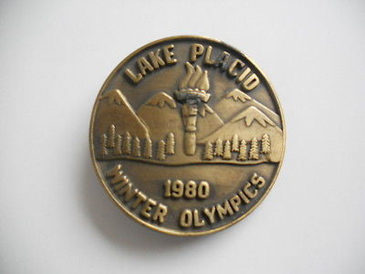Olympics rare Lake Placid metal belt buckle 1980