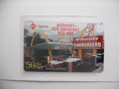 McDonalds rare unused collectible phonecard 1995