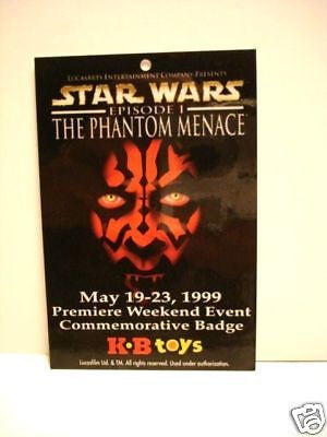 Star Wars Darth Maul KB Toys rare card regional issue 1999