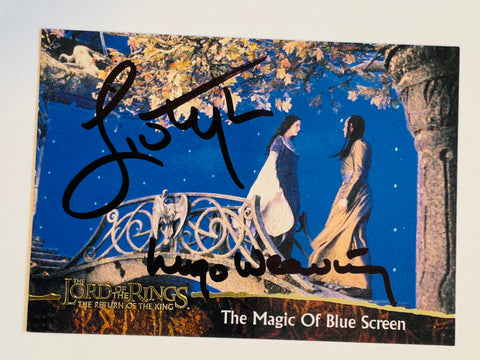 Lord of the Rings rare Liv Tyler and Hugo Weaving autograph card with COA
