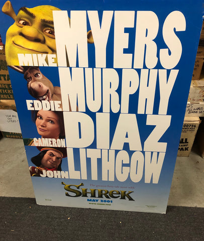 Shrek movie vintage large movie poster on foam core back 27x40 from 2001