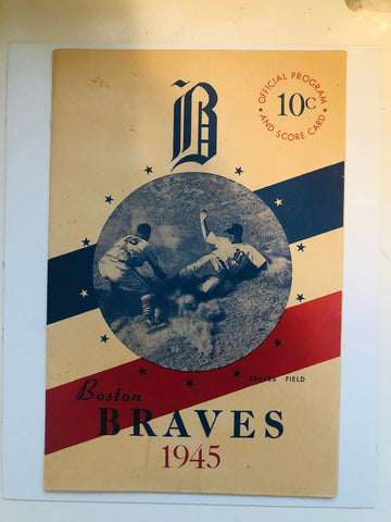 1945 Boston Braves baseball rare program scorecard