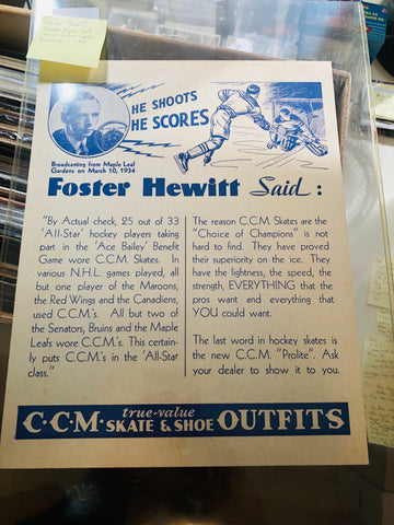 NHL hockey CCM rare Foster Hewitt sign 1933