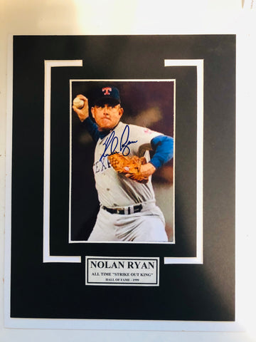 Nolan Ryan strike out king rare signed matted autograph with COA