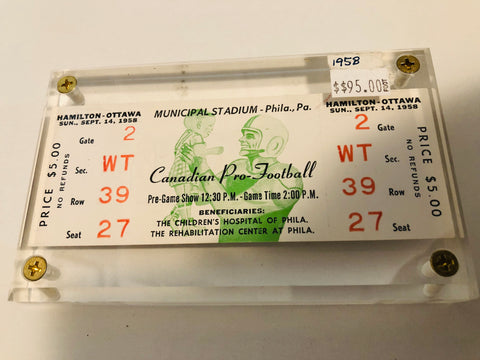 1958 CFL football rare game ticket