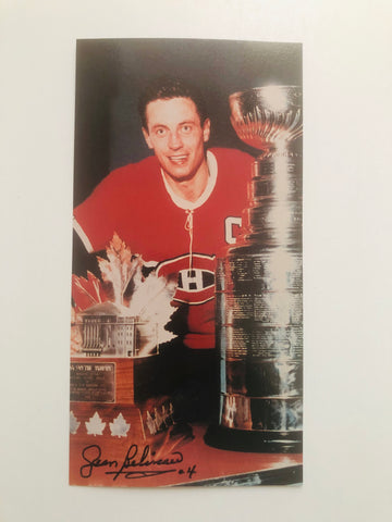 Jean Beliveau Montreal Canadiens signed 4x8 photo with COA